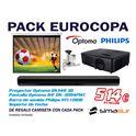 Pack eurocopa proyector optoma, pantalla optoma, barra de sonido philips y soporte de techo - OFEUROCOPA
